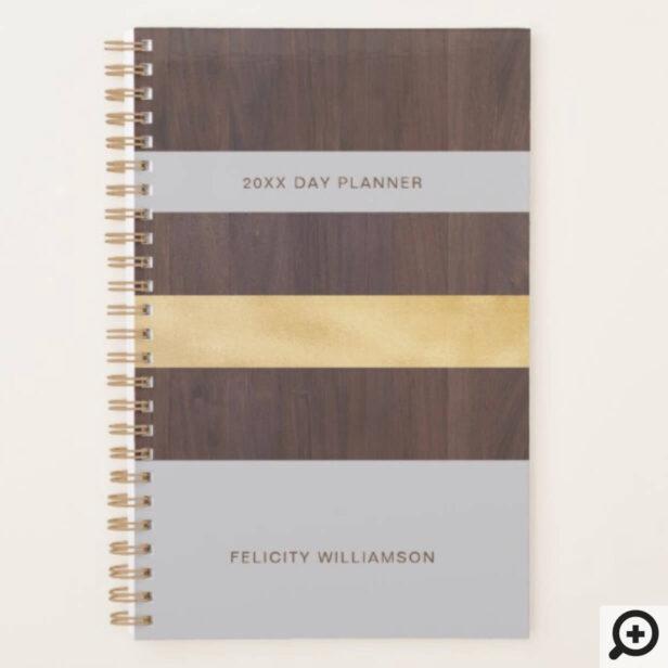 Woodgrain Gold & Grey Stripe Modern Retro Planner