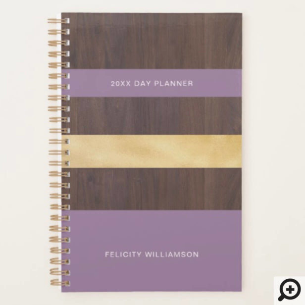 Woodgrain Gold & Purple Stripe Modern Retro Planner