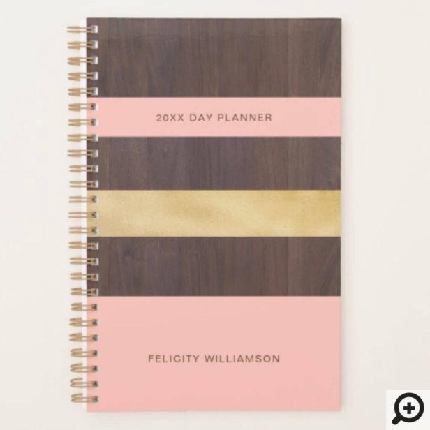 Woodgrain Gold & Pink Stripe Modern Retro Planner