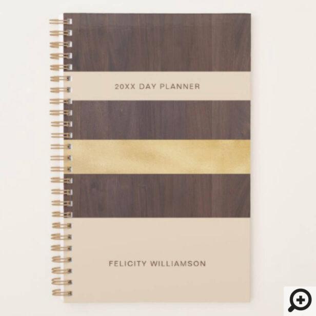 Woodgrain Gold & Tan Stripe Modern Retro Planner