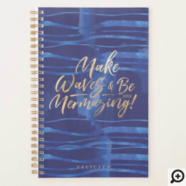 Make Waves | Inspirational Navy Watercolor Waves Planner