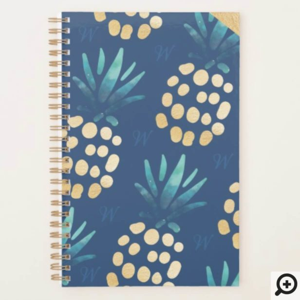 Blue, Teal & Gold Tropical Pineapple Fruit Pattern Planner