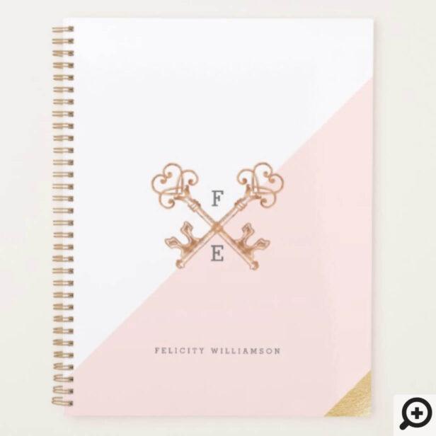 Blush Pink Feminine Vintage Skeleton Key Sticker Planner