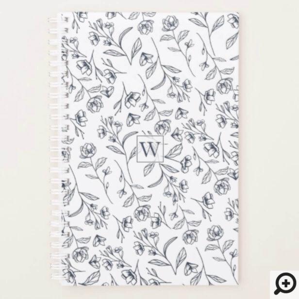 Elegant Chic Blue & White Flower Foliage Monogram Planner