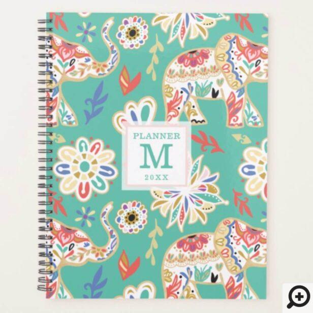 Elegant Floral Ornate Elephant Pattern Monogram Planner