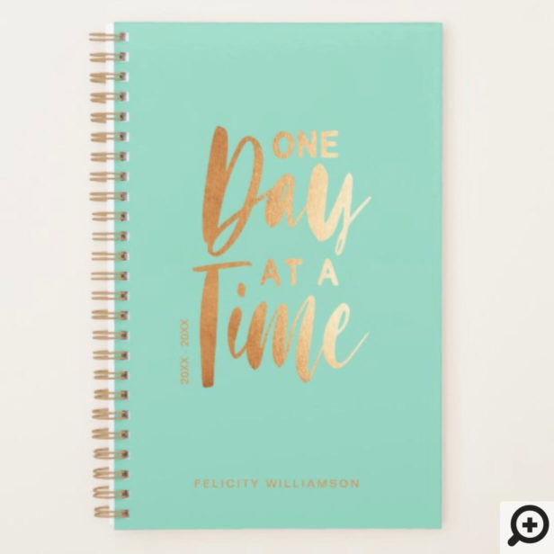 One Day at a Time | Gold & Mint Inspirational Planner