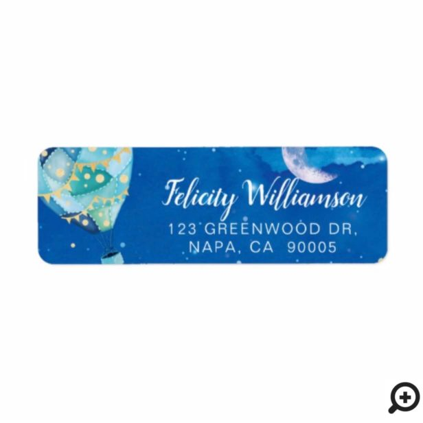 Magical Night Stars Hot Air Balloon Baby Shower Label