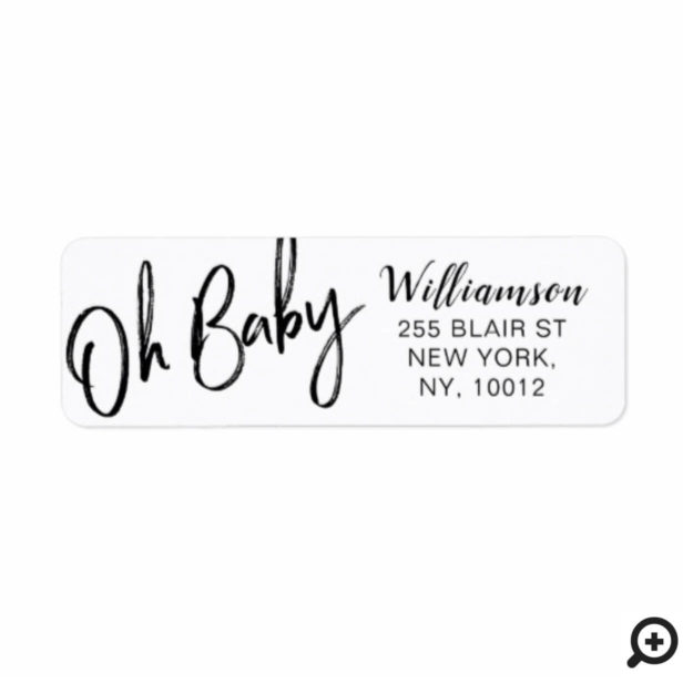 Bold Clean Modern Oh Baby Typographic Baby Sower Label
