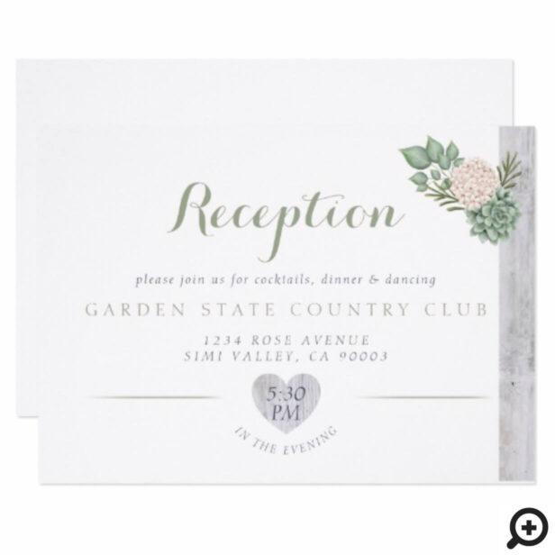 Sage Floral Flowers & White Wood Wedding Reception Invitation