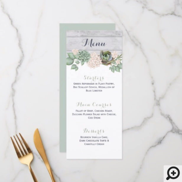 Sage Floral Flowers & White Wood Wedding Menu Card