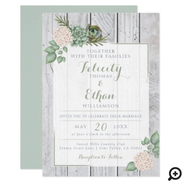 Sage Floral Flowers White Wood Wedding Invitation