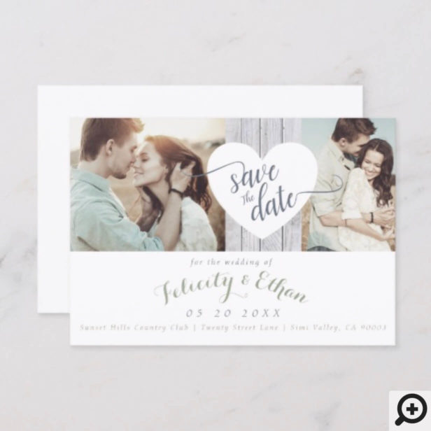 Sage Floral Wood Photo Wedding Save The Date Card