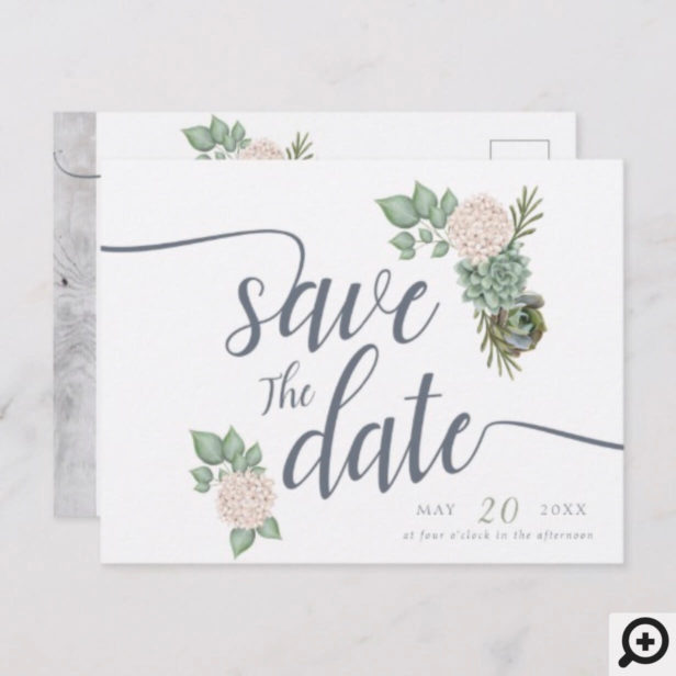 Sage Flowers & White Wood Wedding Save The Date Announcement Postcard