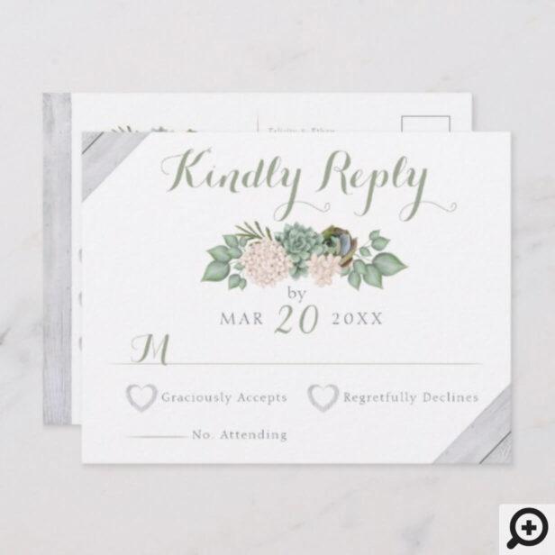 Sage Floral Flowers & White Wood Wedding RSVP Card