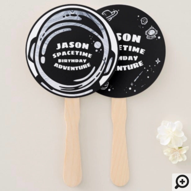 Black White Outer Space Astronaut Hand Fan