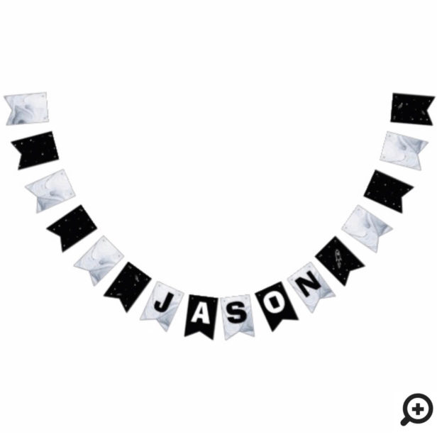 Black White Outer Space Astronaut Birthday Banner