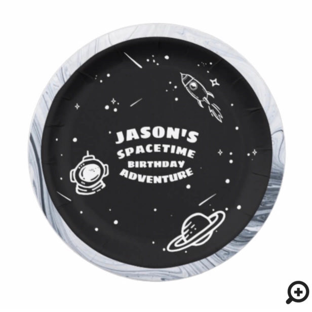 Black White Outer Space Astronaut Birthday Plate