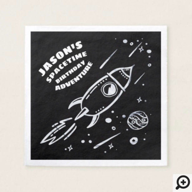 Black White Outer Space Astronaut Birthday Napkin