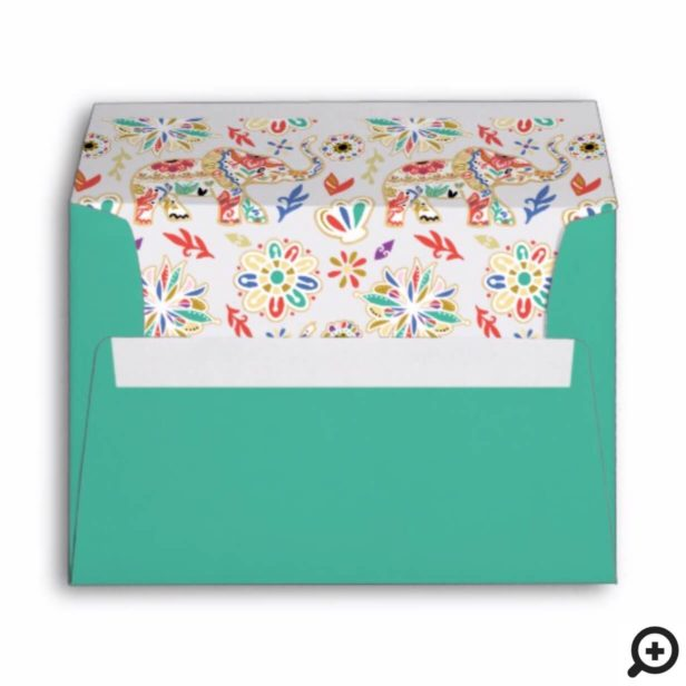 Elegant Floral Decorative Ornate Mandala Elephant Envelope