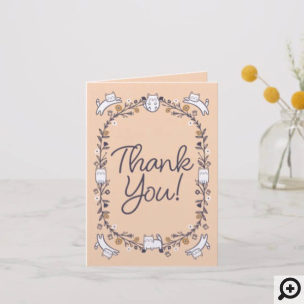 Floral & Foliage Sweet Little kitty Kittens Frame Thank You Card