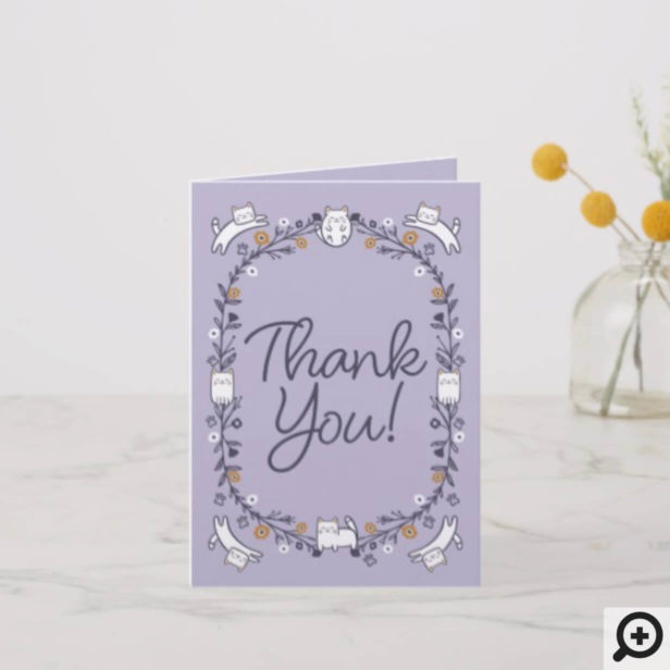 Floral & Foliage Sweet Little kitty Kittens Frame Purple Thank You Card