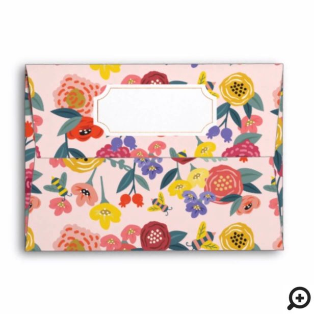 Vintage Wildflower Foliage & Honey Bee Pattern Envelope