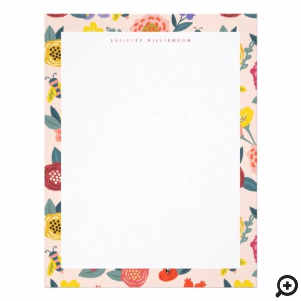 Vibrant Floral Wildflowers & Honey Bee Frame Letterhead