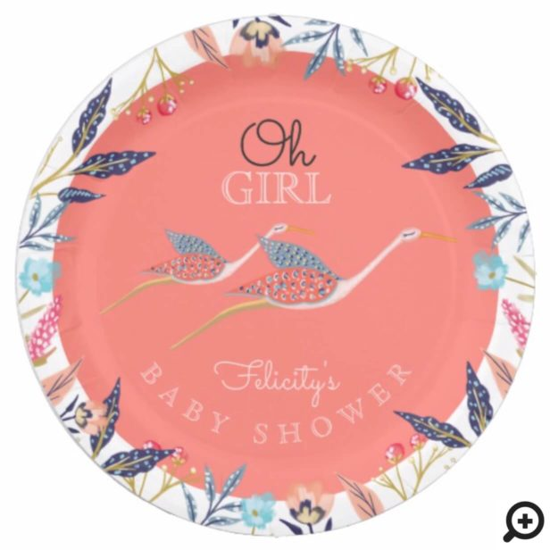 Oh Girl | Chic Floral Botanical Stork Baby Shower Paper Plate