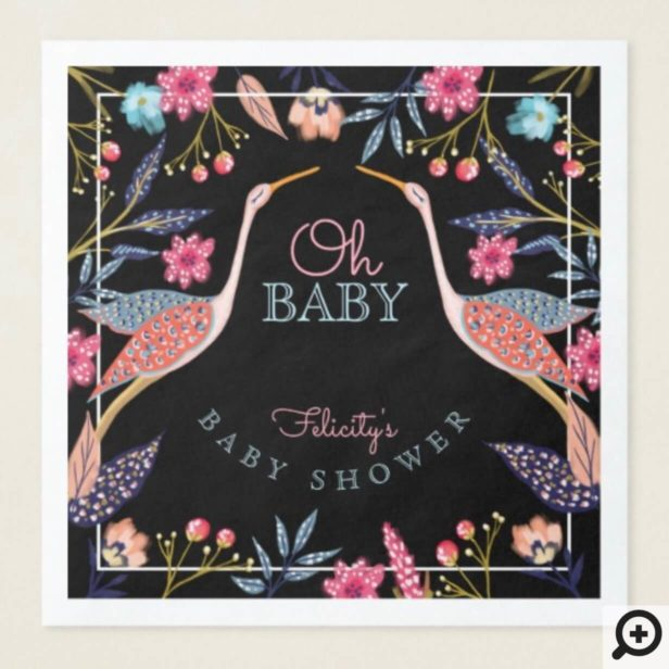 Oh Baby | Chic Floral Botanical Stork Baby Shower Paper Dinner Napkin