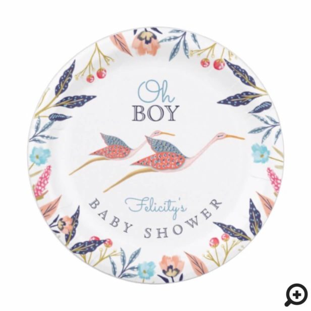 Oh Baby | Chic Floral Botanical Stork Baby Shower Paper Plate
