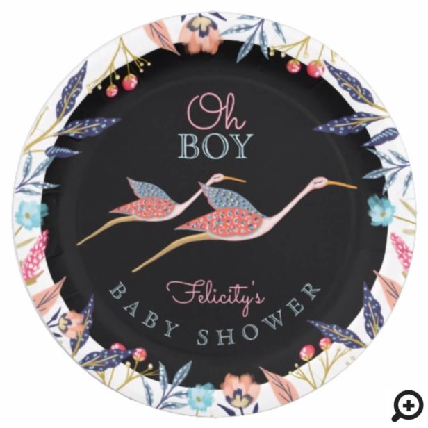 Oh Boy   Chic Floral Botanical Stork Baby Shower Paper Plate