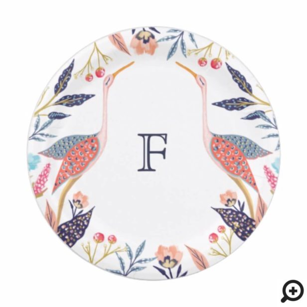 Chic Floral Botanical Monogram Stork Baby Shower Paper Plate