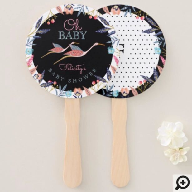 Oh Baby | Chic Floral Botanical Stork Baby Shower Hand Fan