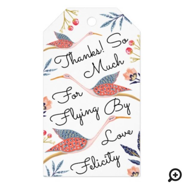 Thank You | Floral Botanical Stork Baby Shower Gift Tags