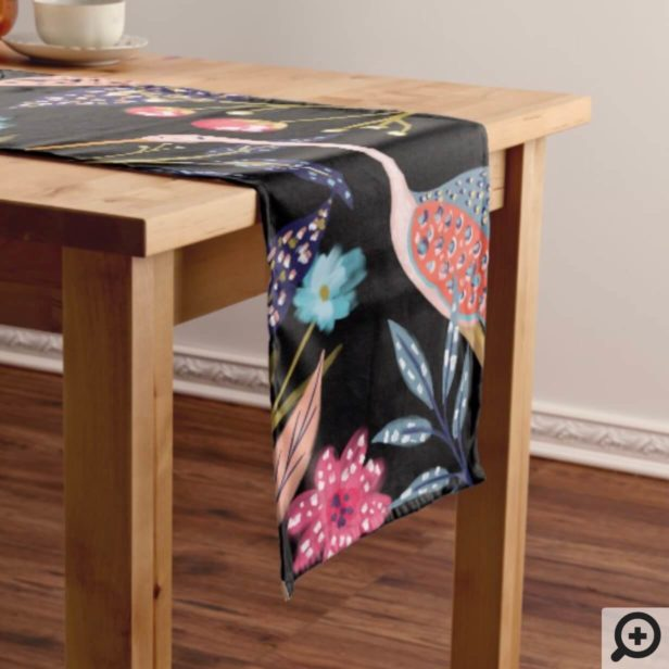 Oh Baby   Chic Floral Botanical Stork Baby Shower Long Table Runner