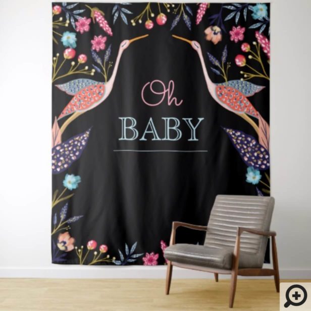 Oh Baby | Chic Floral Botanical Stork Baby Shower Tapestry