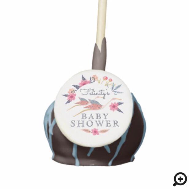 Chic Floral Botanical Stork Birds Baby Shower Cake Pops