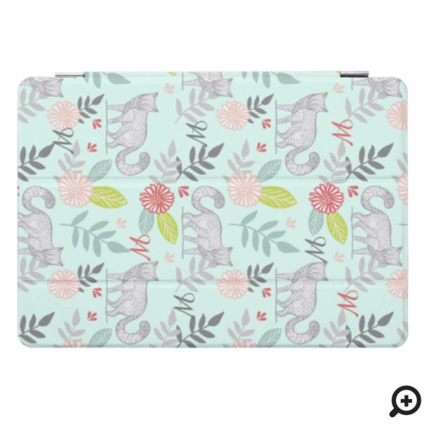 Woodland Forest Fox & Floral Foliage Monogram iPad Pro Cover
