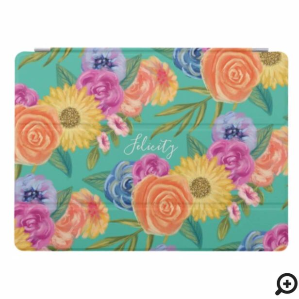Personalized Chic Lively Floral Blossom Print Teal iPad Pro Cover