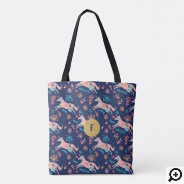 Magical Whimsical Pink Floral Unicorn Monogram Tote Bag