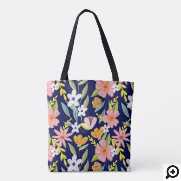 Chic Topical Vibes Jungle Sloth & Floral Pattern Tote Bag