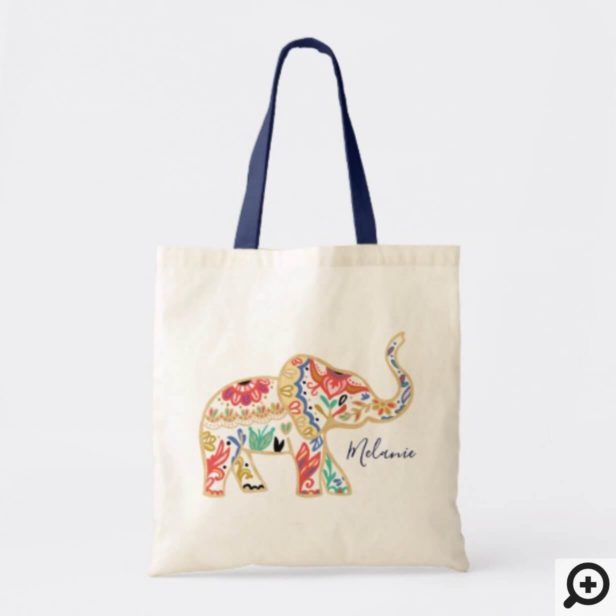 Elegant Floral Decorative Ornate Elephant Pattern Tote Bag