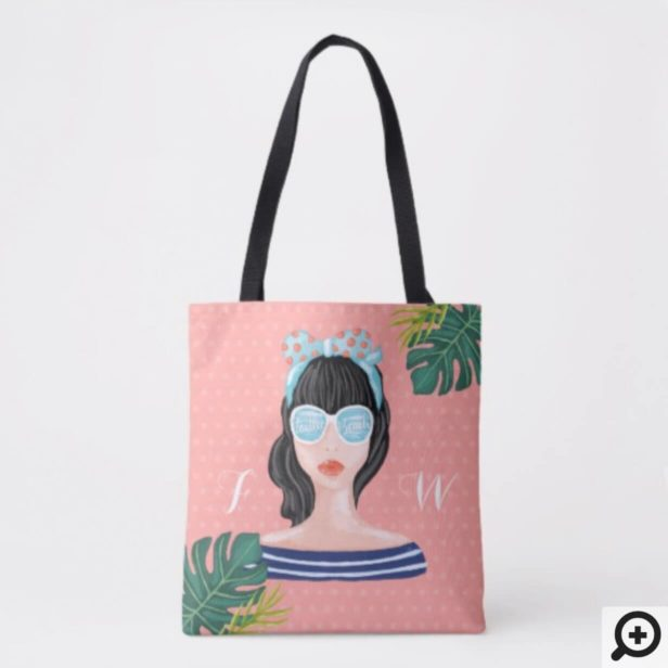 To The Beach | Beach Beauty Retro Tropical Leaves Tote Bag
