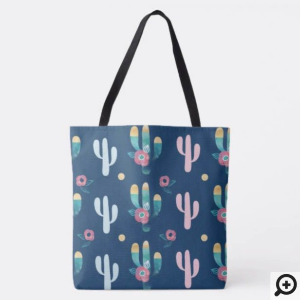 Cute, Trendy, Chic & Stylish Floral Cactus Pattern Tote Bag