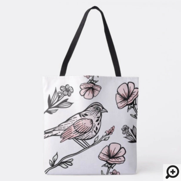 Chic Vintage Style Black & Pink Birds & Florals Tote Bag