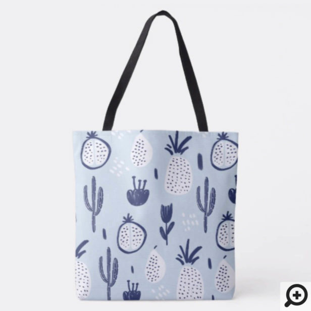 Bold Cactus, Pomegranate & Pineapple Fruit Pattern Tote Bag