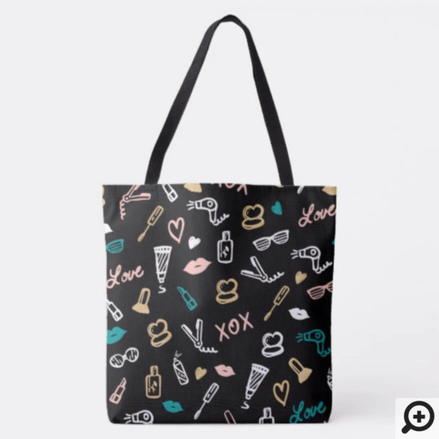 Girly Makeup Icon Pattern - Modern Trendy Chic Tote Bag