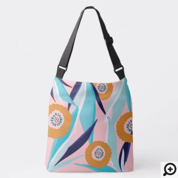 Trendy Pink & Aqua Tropical Palm Leafs & Florals Crossbody Bag