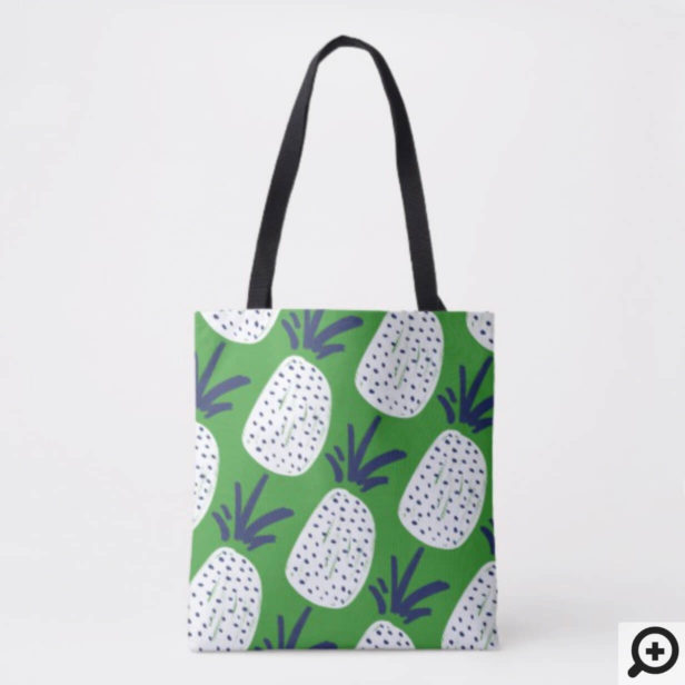 Pink & Green Abstract Pineapple & Cactus Pattern Tote Bag