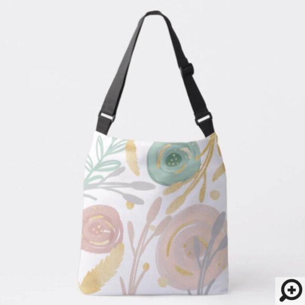 Abstract Boho Bohemian Chic Floral watercolour Crossbody Bag